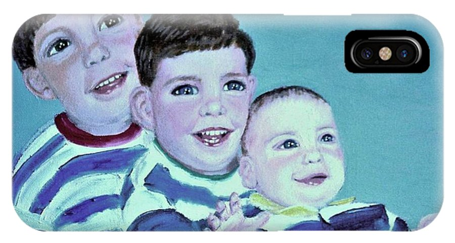 Children IPhone X / XS Case featuring the painting My Three Sons by Laurie Morgan