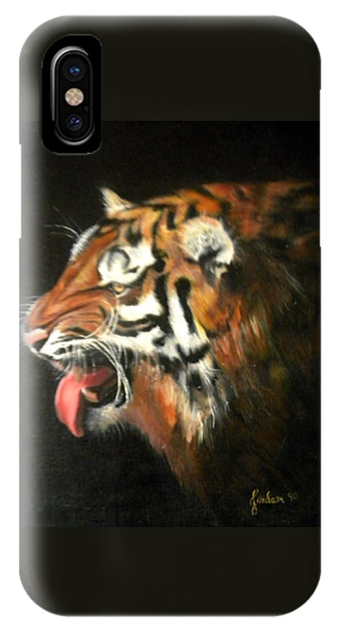 Tiger IPhone X Case featuring the painting My Tiger - The Year Of The Tiger by Jordana Sands