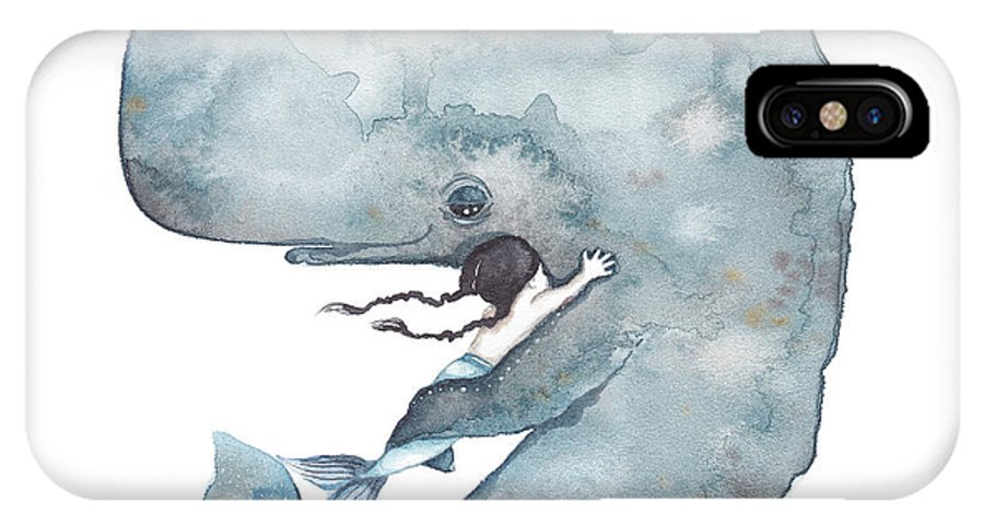 Illustration IPhone X Case featuring the painting My Whale by Soosh