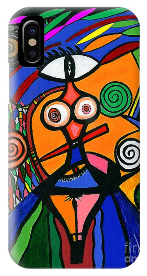 Feelings IPhone X Case featuring the painting My Woman by Safak Tulga