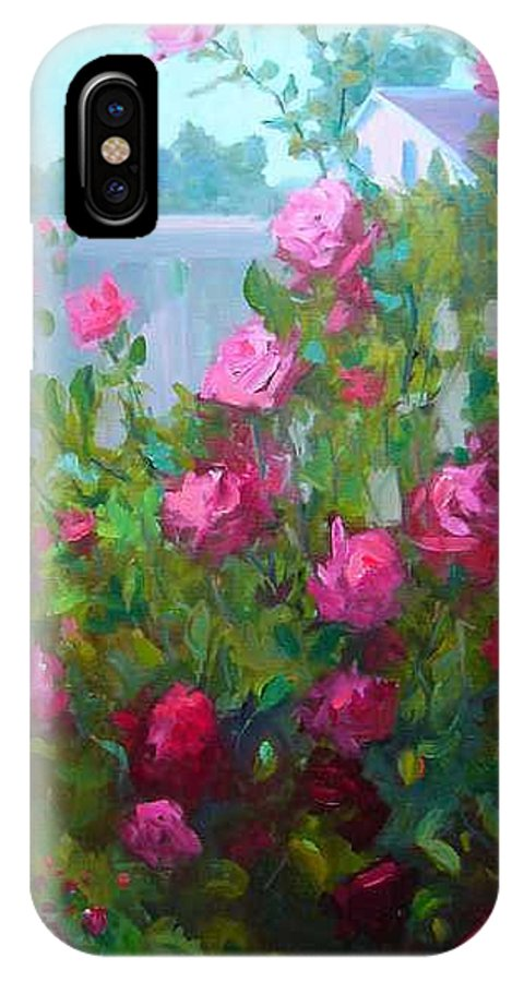 Climing Red Roses On Fence IPhone X / XS Case featuring the painting Myback Yard Roses by Patricia Kness