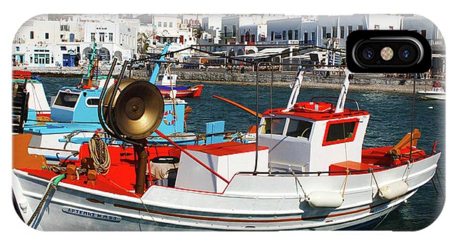 Mykonos Greece Fishing Boats IPhone X Case featuring the photograph Mykonos Greece Fishing Boats by Bob Christopher