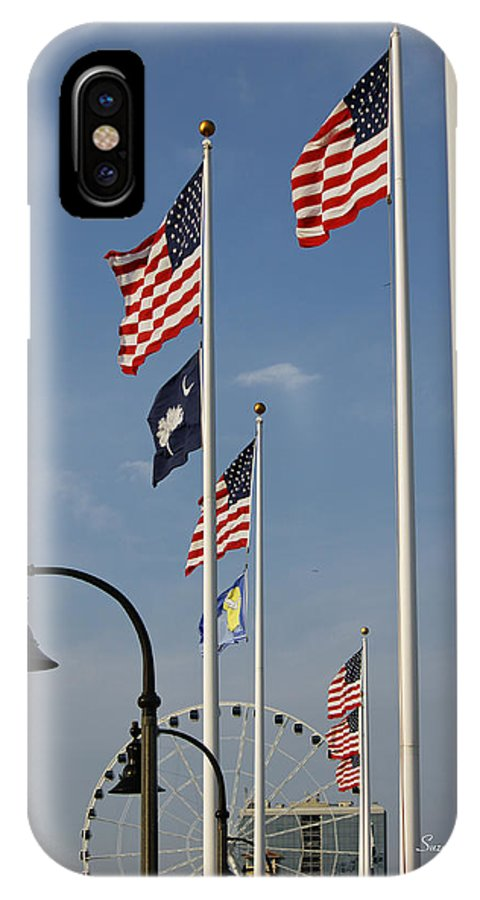 Flag IPhone X Case featuring the photograph Myrtle Beach Boardwalk II by Suzanne Gaff