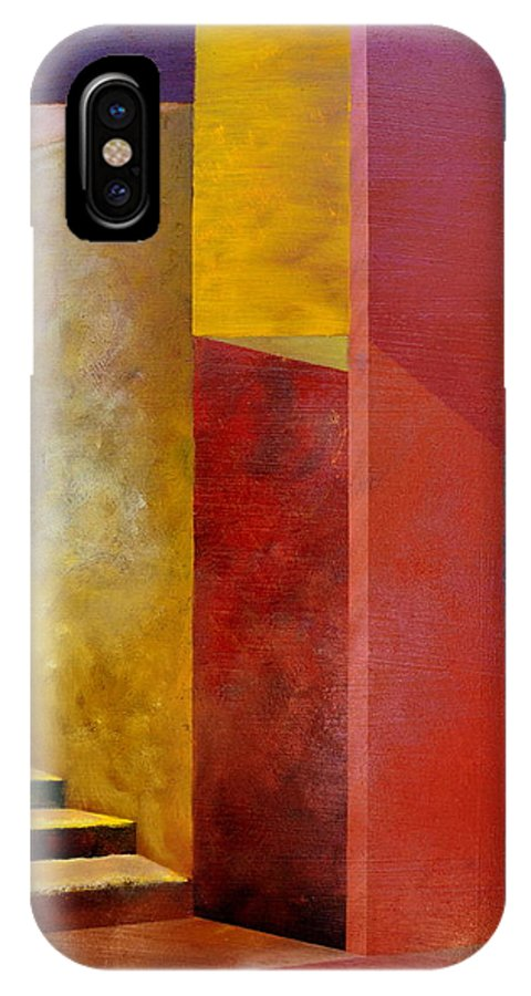 Gold IPhone Case featuring the painting Mystery Stairway by Michelle Calkins