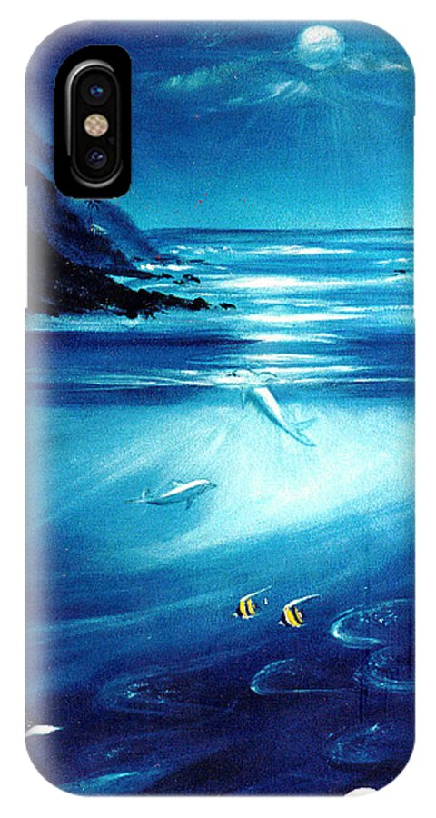 Seascape IPhone X Case featuring the painting Mystic Moonlight by Dina Holland