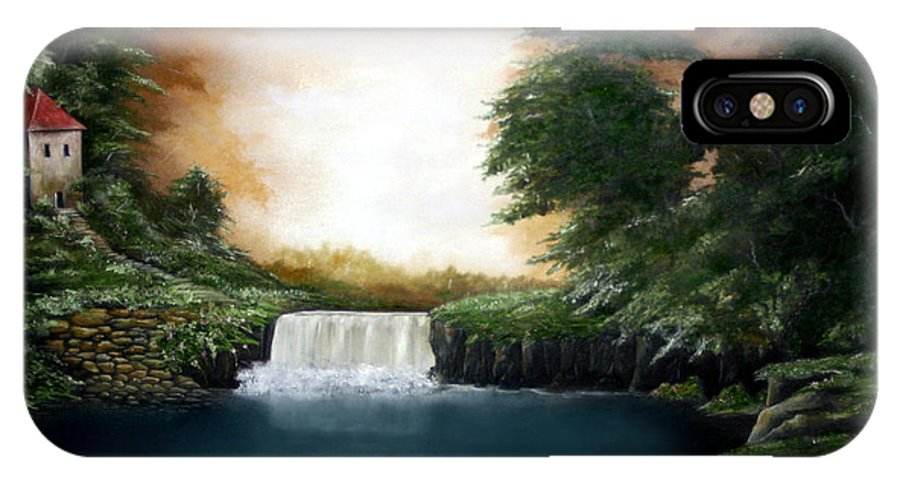 Falls IPhone X / XS Case featuring the painting Mystical Falls by Ruben Flanagan