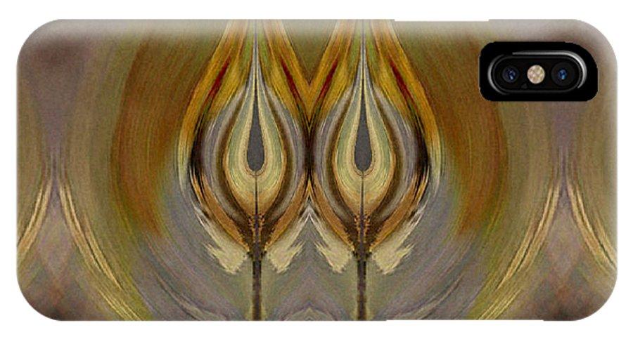 Digital IPhone X Case featuring the digital art Mystical Flowers by Ilona Burchard