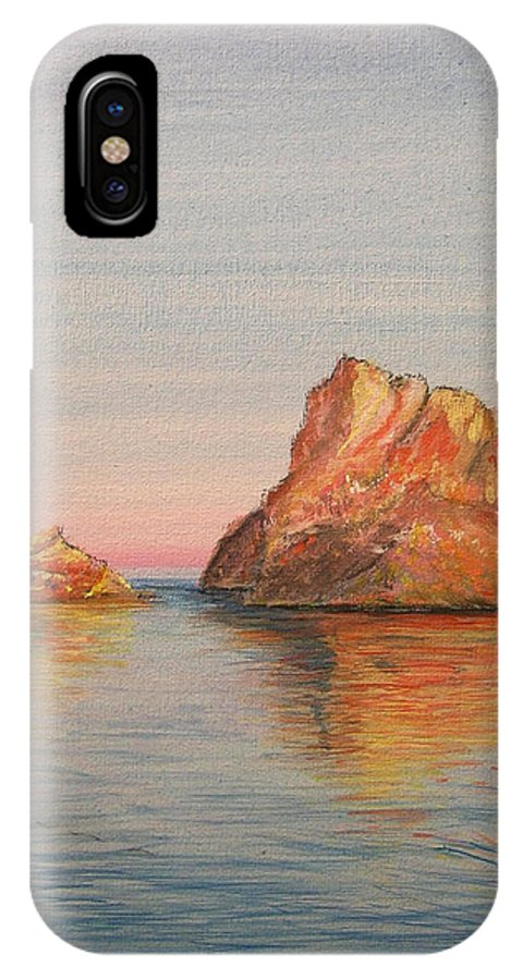 Island IPhone X Case featuring the painting Mystical Island Es Vedra by Lizzy Forrester