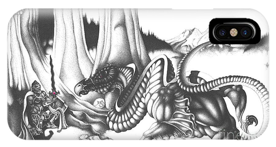 Dragon IPhone X Case featuring the drawing Mystical Riverbed by Devaron Jeffery