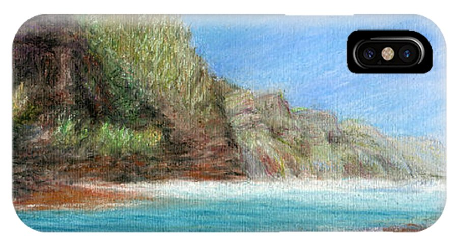 Rainbow Colors Pastel IPhone Case featuring the painting Na Pali by Kenneth Grzesik
