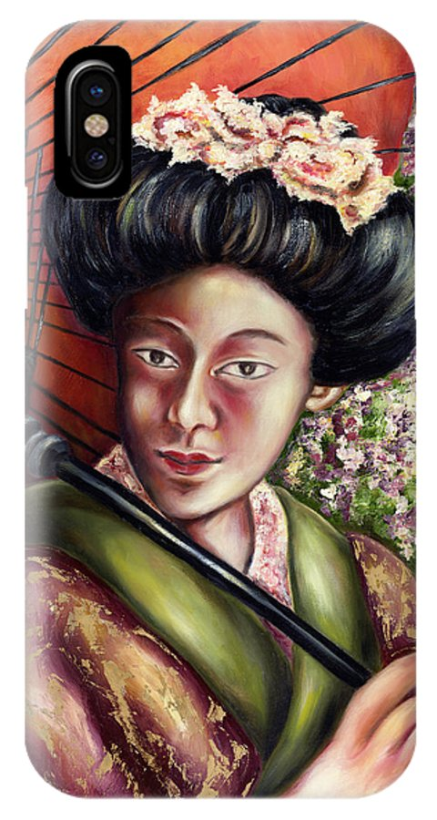 Japanese IPhone X Case featuring the painting Nadeshiko by Hiroko Sakai