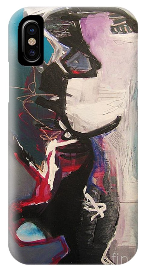 Abstract Art Paintings IPhone X / XS Case featuring the painting Nagging Voice by Seon-Jeong Kim