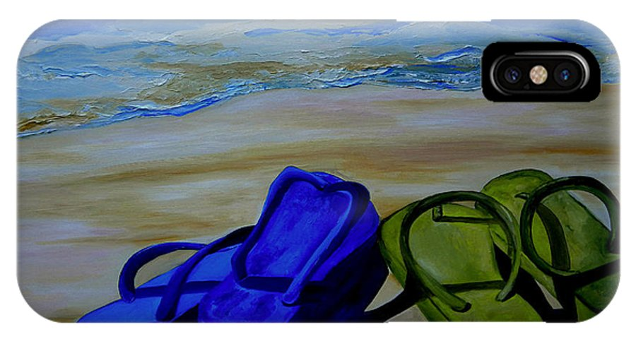 Flip Flops IPhone X Case featuring the painting Naked Feet On The Beach by Patti Schermerhorn