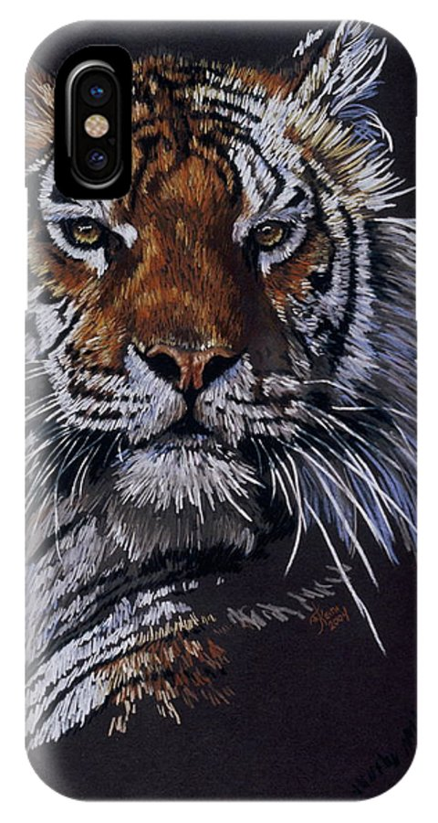 Tiger IPhone X Case featuring the drawing Nakita by Barbara Keith