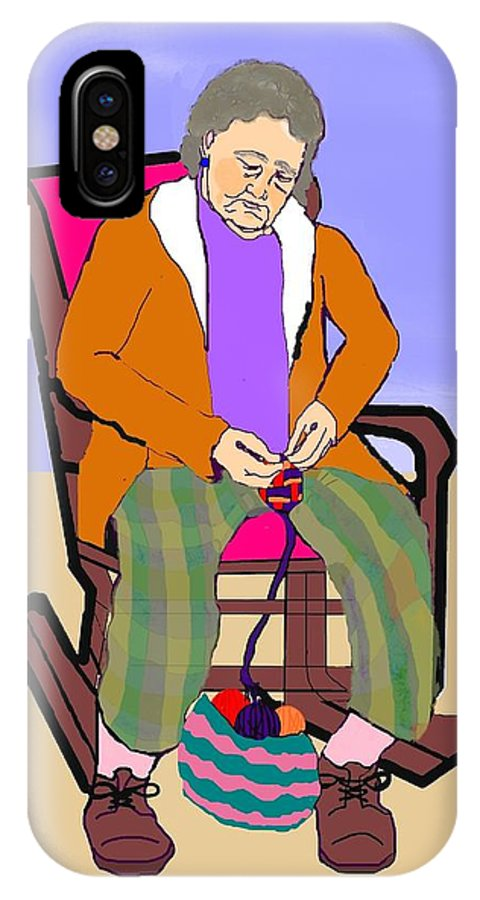 Grandmother IPhone X Case featuring the digital art Nana Knitting by Pharris Art