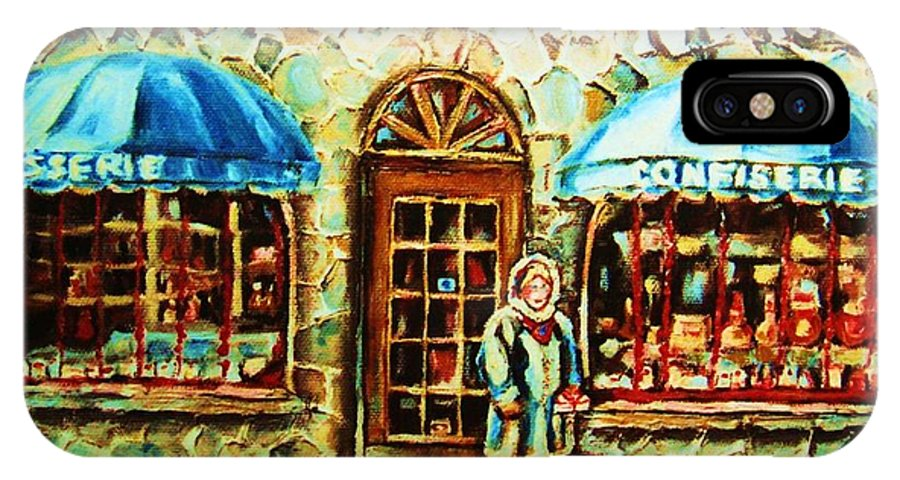 Bakery Shops IPhone X Case featuring the painting Nancys Fine Pastries by Carole Spandau