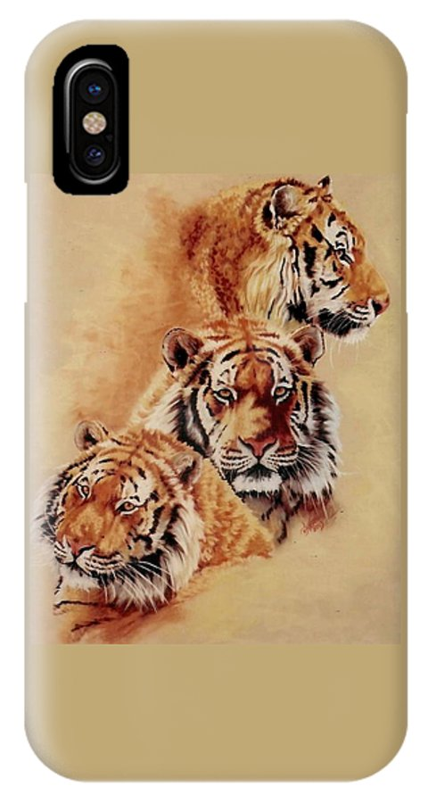 Tiger IPhone X Case featuring the pastel Nanook by Barbara Keith