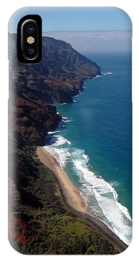 Hawaii IPhone X / XS Case featuring the photograph Napali Cliffs by Kathy Schumann