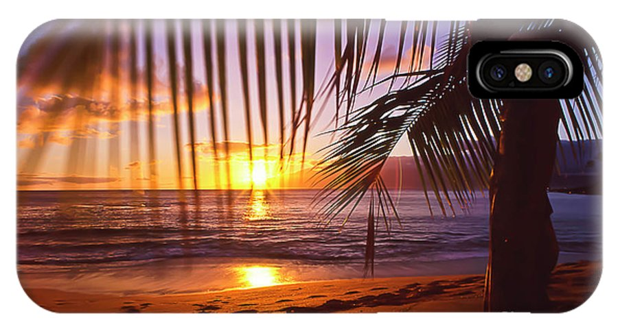 Sunset IPhone X Case featuring the photograph Napili Bay Sunset Maui Hawaii by Jim Cazel
