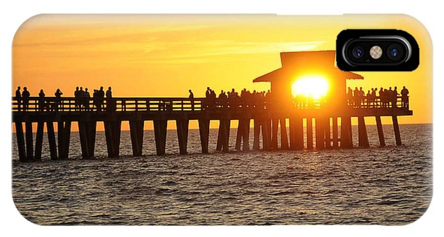 Naples IPhone X Case featuring the photograph Naples Florida Sunset Pier by Keith Lovejoy