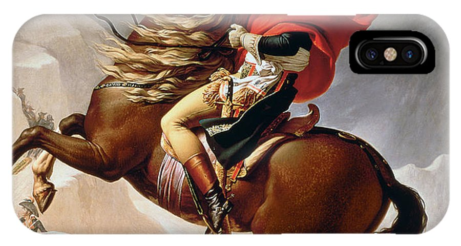Bonaparte; Mounted; Portrait; Horse; Horseback; Male; Marengo; Rearing; Napoleon I; 1769-1821 IPhone X Case featuring the painting Napoleon Crossing The Alps by Jacques Louis David