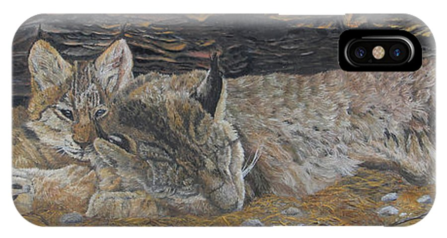 Lynx IPhone X Case featuring the painting Naptime - Canadian Lynx by Johanna Lerwick