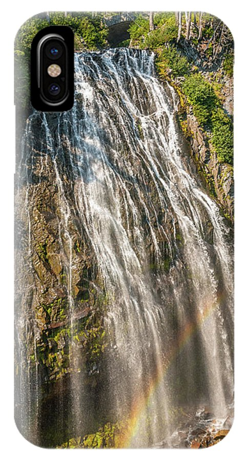 America IPhone X Case featuring the photograph Narada Falls Rainbow by Marv Vandehey