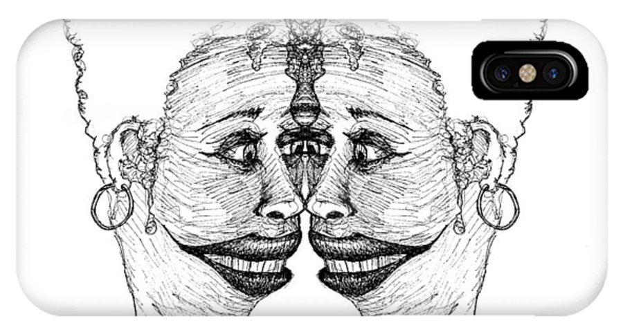 Vain IPhone X / XS Case featuring the drawing Narcissistic by Paul Griffin