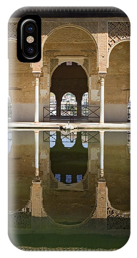 Moorish IPhone X Case featuring the photograph Nasrid Palace Arches Reflection At The Alhambra Granada by Mal Bray