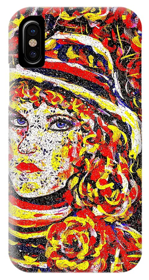 Woman IPhone X / XS Case featuring the painting Nat With The Hat by Natalie Holland