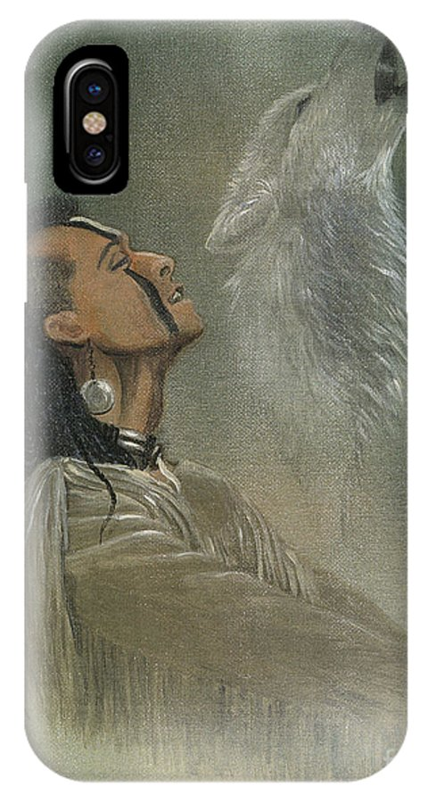 American IPhone Case featuring the painting Native American Indian by Morgan Fitzsimons