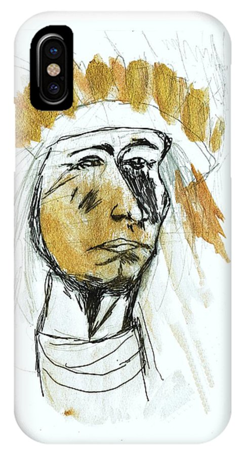 Native IPhone X Case featuring the drawing Native by TotoTheTriplet