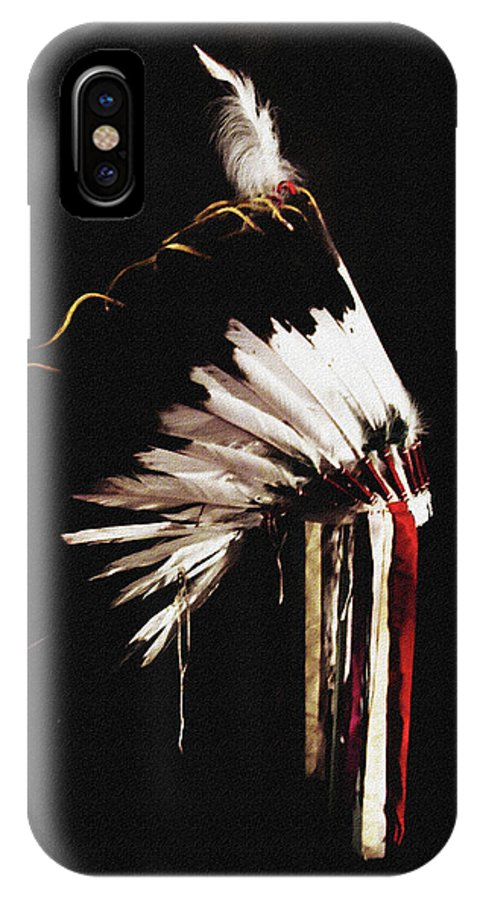 Native American IPhone X Case featuring the photograph Native Headdress by Di Designs