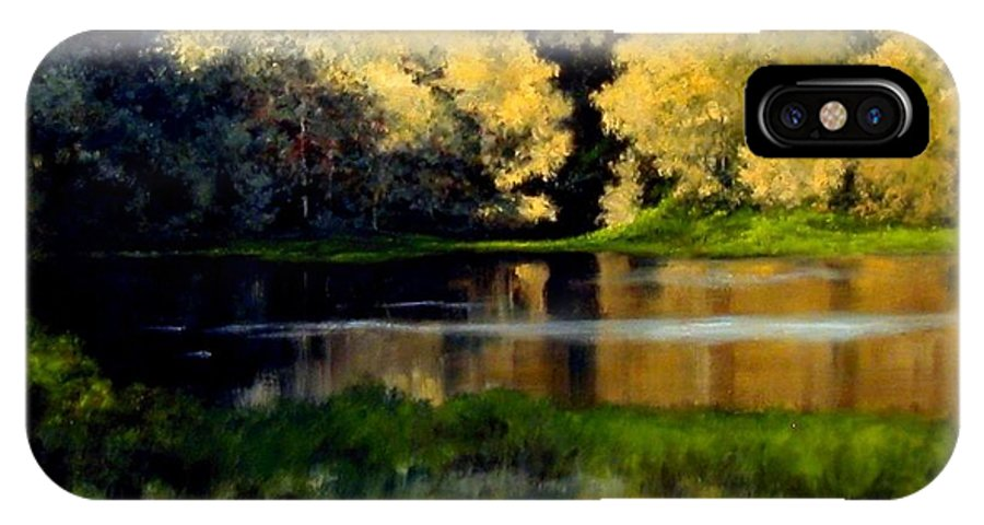 Landscape IPhone X Case featuring the painting Nature Walk by Jim Gola