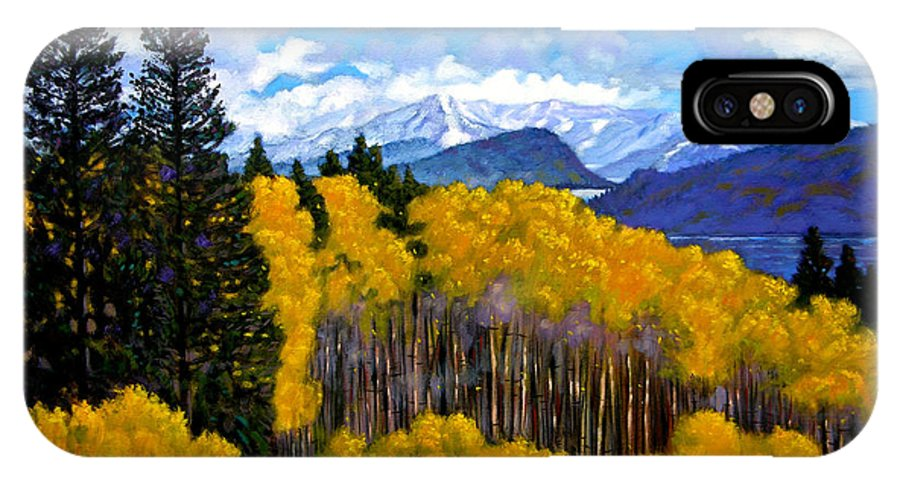 Fall IPhone X Case featuring the painting Natures Patterns - Rocky Mountains by John Lautermilch