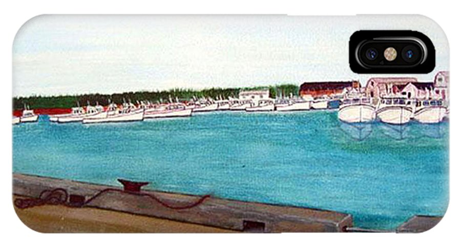 Naufrage Pei IPhone X Case featuring the painting Naufrage Harbour Pei by Richard Le Page