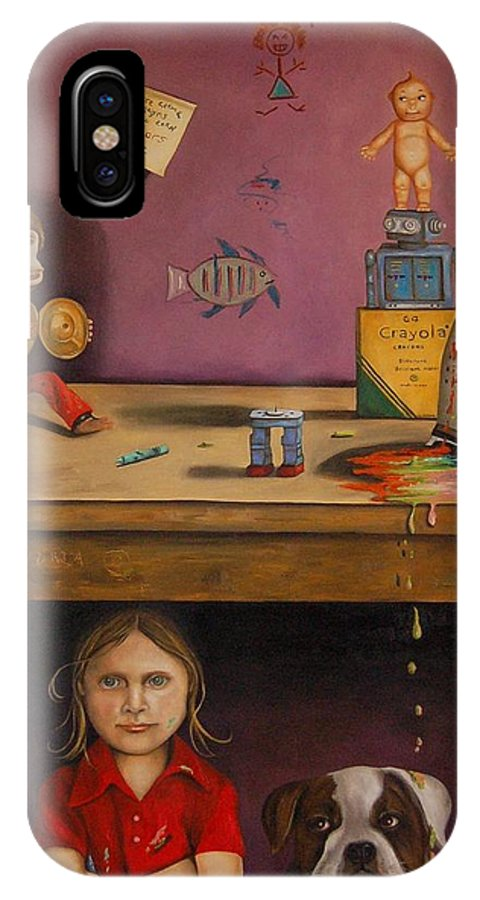 Monkey IPhone X Case featuring the painting Naughty Child by Leah Saulnier The Painting Maniac
