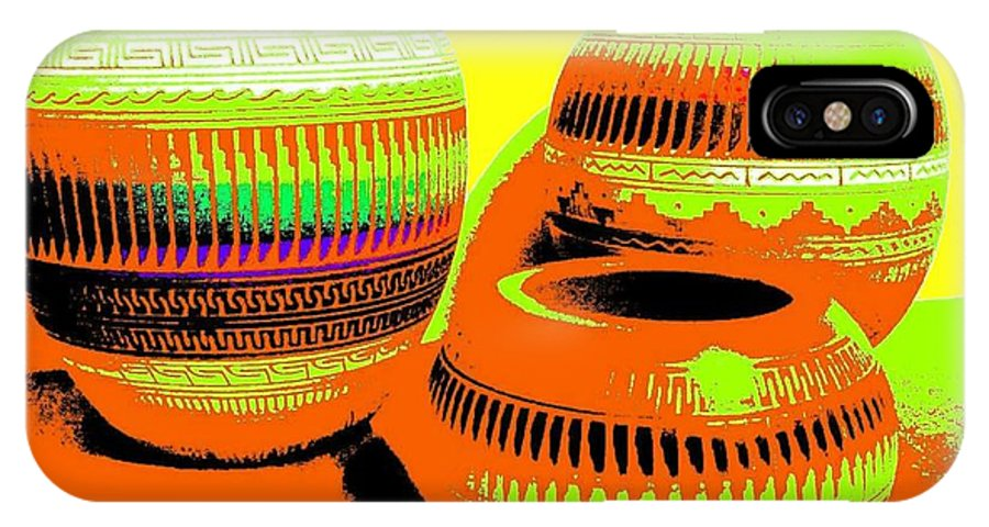 Abstract IPhone X Case featuring the digital art Navajo Pots by Will Borden