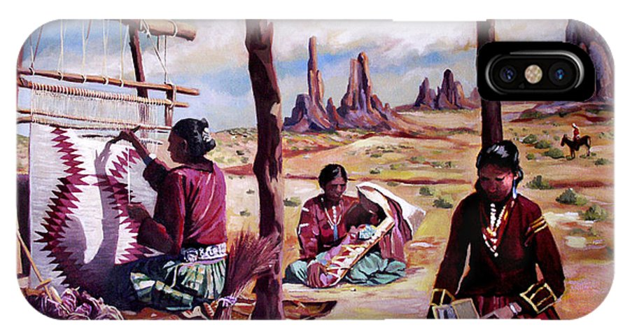 Native American IPhone X Case featuring the painting Navajo Weavers by Nancy Griswold