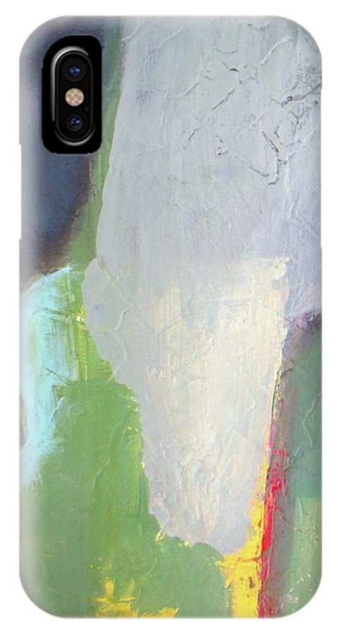 Abstract IPhone X Case featuring the painting Navy Gray Green Abstract by Vesna Antic