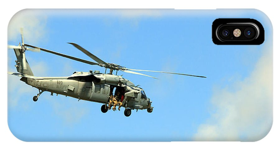 Navy IPhone X Case featuring the photograph Navy Helicopter by Travis Rogers