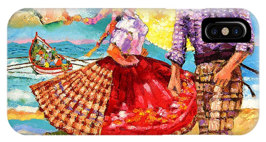 Dancers IPhone Case featuring the painting Nazare Portugal by John Lautermilch