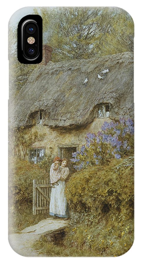 Cottage; English; Landscape; Victorian; C19th; C20th; Thatched; Thatch; Gate; Gateway; Hedge; Mother; Child; Baby; Female IPhone X Case featuring the painting Near Freshwater Isle Of Wight by Helen Allingham