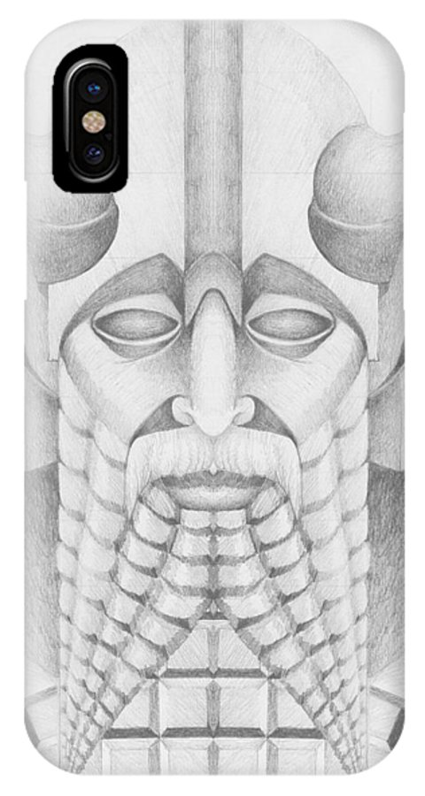 Babylonian IPhone X Case featuring the drawing Nebuchadezzar by Curtiss Shaffer