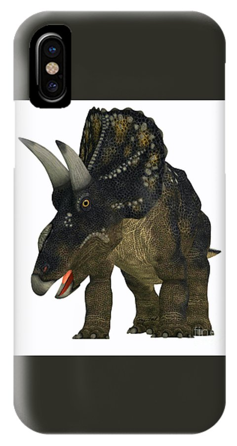 Nedoceratops IPhone X Case featuring the painting Nedoceratops On White by Corey Ford