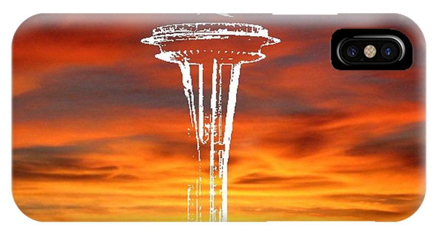 Seattle IPhone X Case featuring the digital art Needle Silhouette by Tim Allen