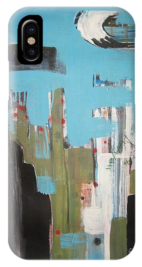 Abstract Paintings IPhone X Case featuring the painting Neglected Area by Seon-Jeong Kim