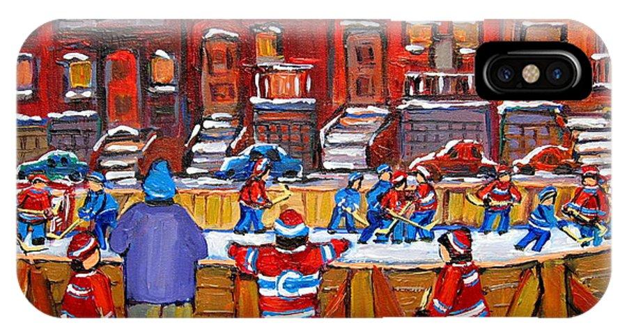 Hockeygame At The Neighborhood Rink IPhone X Case featuring the painting Neighborhood Hockey Rink by Carole Spandau