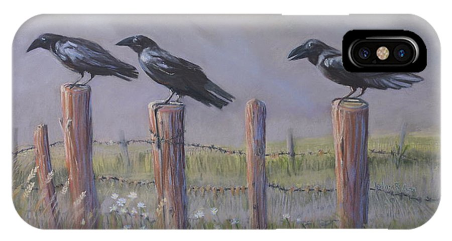 Crows IPhone X Case featuring the painting Neighborhood Watch by Heather Coen