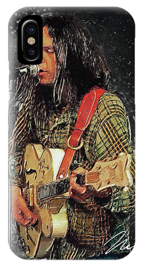 Neil Young IPhone X Case featuring the digital art Neil Young by Zapista OU